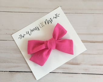 Hand Tied Hot Pink Bow, Clip and Headband