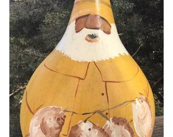 Salty Dawg Hank Signed Handpainted Gourd Centerpiece 12x8