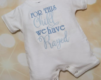 Baby Boy For This Child We Have Prayed Infant Short Sleeve Summer Baby Boy Layette Romper Set Cotton Baby Boy Romper with Trim