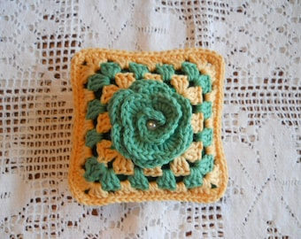 Pincushion Pillow, Crochet Pincushion, Sewing Accessories, Sewing Room Decor, Great Gift for a Quilter Friend, Green and Yellow Square .