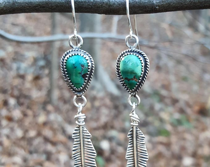Hubei Turquoise Sterling Silver Feather Earrings, Turquoise Sterling Silver Earrings, Turquoise Dangle Earrings, Turquoise Feather Earrings