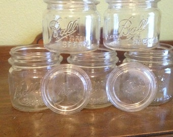 Ball special shorty jars with 2 glass lids