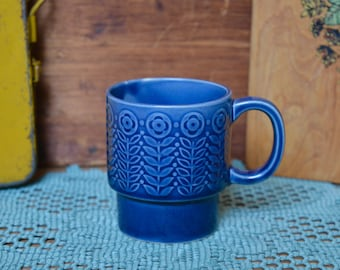 Vintage Blue Flower Pattern Ceramic Stoneware Mug Stacking Retro made in Japan