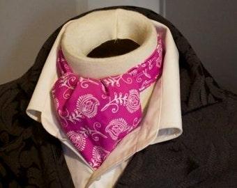Pure Cotton - Pink and White Paisley - DAY Cravat Victorian Ascot Tie Cravat
