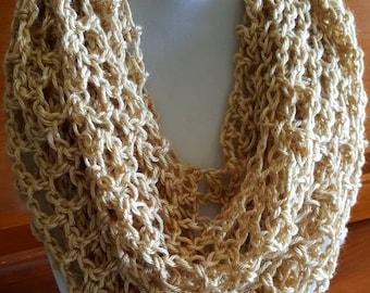 Infinity scarf,beige  infinity scarf, lacy infinity scarf, natural colored crocheted infinity scarf, crocheted scarf,spring infinity scarf