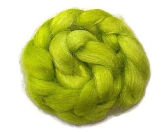 Firestar, sparkle, nylon hand dyed fiber for spinning, carding, art bats, felting, needle felting, paper making 0.5 oz, chartreuse