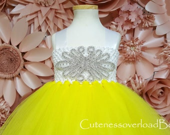 Yellow Flower Girl Tutu Dress-Yellow Tutu Dress-Yellow Dress-Yellow Tutu-Yellow Birthday Tutu-Yellow Bride Dress.
