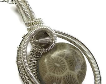 Fossil Coral & Sterling Silver Woven Circle Pendant with Swarovski Crystal and Chain