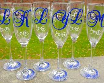 Monogrammed bridesmaids champagne glasses, Bridesmaid gift idea, monogram flutes, toasting flutes for wedding. Navy and white. Maid of Honor