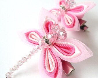 Kanzashi  pink dragonflies hair clips. Set of 2 hair clips.