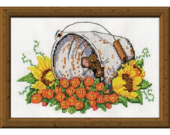 Bucket Mouse Counted Cross-Stitch Kit