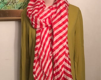 Striped Silk Scarf Red and White. Extra Long 100% Silk Holiday Accessories Head Wrap Long Style Gifts Under 30 Christmas Peppermint Stripe