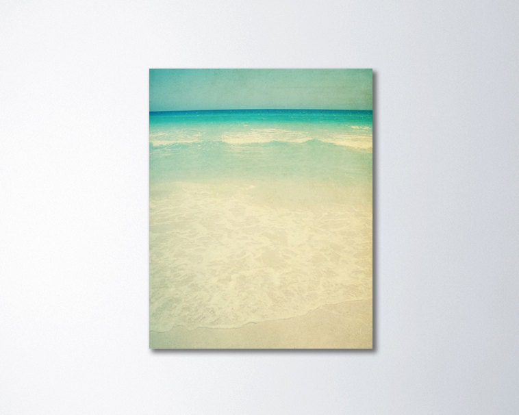 Vintage Beach Canvas Art Mint Green Art Beach Wall Art