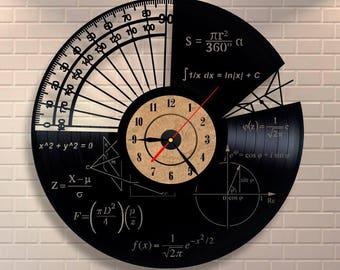 Math teacher gift vinyl wall record clock