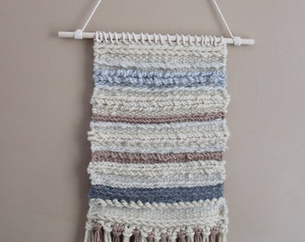 Handwoven Wall Weaving// Yarn Textile Tapestry//Minimalist Neutral//