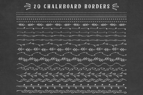 Chalkboard Border Floral Clipart Set Chalkboard Doodles Clip