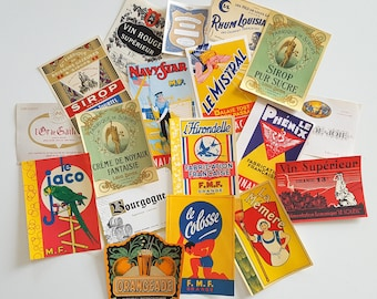 Set of 18 vintage French advertising labels on paper.  Never used. No reprint. Not digital downupload !