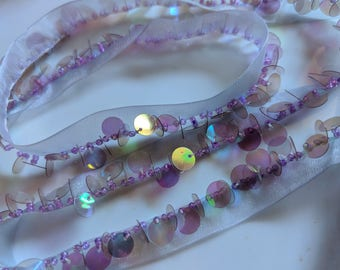 """7/8"""" Vintage AB Purple Sequins on Transparent  Lilac Organza Ribbon Trim Sewing Supply, Hand Beaded Sewing Supply for Dress and Handbag. 48"""""""