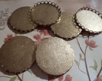 38mm Round brass ox closed back lace edge cup setting 6 pc lot U