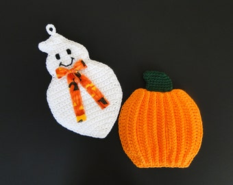 Thanksgiving Crochet Pattern - Halloween Ghost Crochet Pattern - Pumpkin Crochet Pattern - Potholder #302 - Instant Download PDF