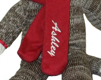 Personalized Custom Designed Embroidered Sock Monkey with name a great gift for boys and girls great Christmas gift great birthday gift