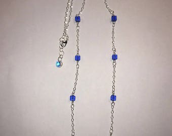 Swarovski sapphire cube sterling plated necklace