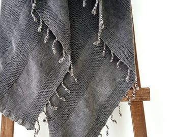 Grey Blanket Throw - UltraSoft Couch Throw -  Stone Grey Bohemian Coverlet - Waffle Throw - Gift for Him - Natural BedCover - Tassel Blanket
