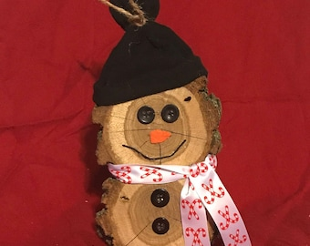 Wood slice snowman candy cane scarf
