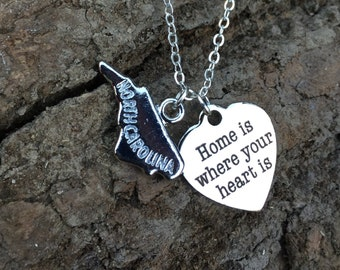 Home is where your heart is necklace, hometown statement necklace, state support, stainless steel silver heart, custom, personalized, mto