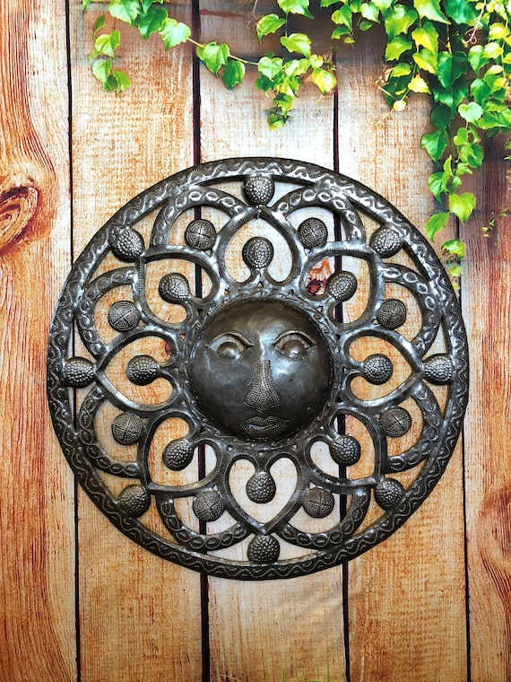 "Metal Sun - Handcrafted Wall Art From Haiti, Recycled Oil Drums 17"" x 17"""