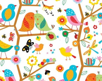 Blank Quilting BACKYARD BUZZ Bird Quilt Fabric 1/2 Yard - White 8248 01
