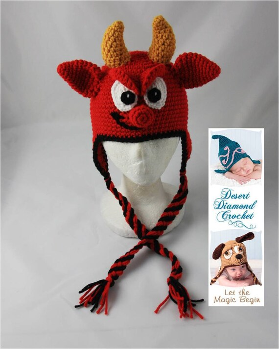 Devil Earflap Hat - Any Size - Photography Prop
