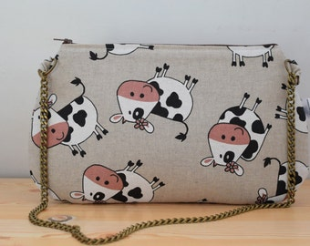Cows bag, cows clutch,chain clutch, canvas bag, cows handbag, cows tote, cows fabric,cow bag, kawaii bag, canvas clutch