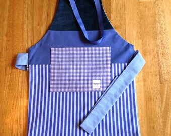 Apron 3-5 years/model Miss Lavande - Pocket lilac-purple-blue-white powder - play, crafts, cooking