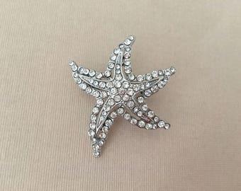 Rhinestone Starfish Pin.Silver Starfish Brooch.Silver Starfish Brooch.Starfish Brooch.Starfish Broach.beach wedding.crystal.bridal