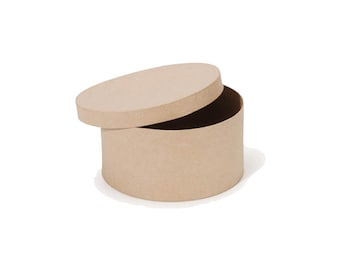 Round Paper Mache Cardboard Box - 8 Inch - Craft Gift Wrap Packaging Party Supplies