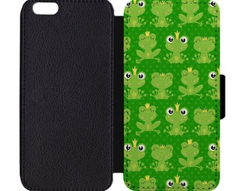 Frog Polka Dot Print Pattern Leather Flip Wallet Case Apple iPhone 5 5S SE 6 6S 7 7S 8 8S X Plus