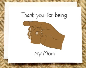 First Mother's Day Card from Baby - Thank You for Being My Mom Black Mothers Day Card from Husband from Baby Card for Mom from Newborn