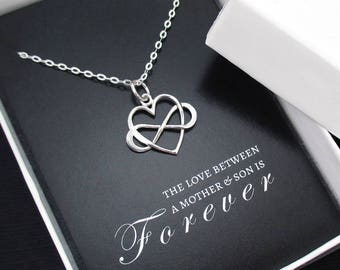 Mother Son Necklace, Mother Son Gift, Gift for Mom from Son, Sterling Silver Infinity Heart Necklace, Mother Son Jewelry, Mothers Day Gift