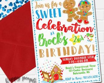 Gingerbread Invitation, Gingerbread Invites, Gingerbread Party, Boys Gingerbread Birthday Invitation, Gingerbread Cookie Invite Boys Winter