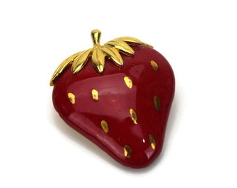 Vintage Lind Gal Strawberry Brooch, Signed LG, Ceramic with Red and Gold Enamel, Fruit Jewelry