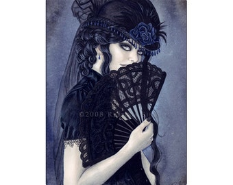 Enchanted Evening ACEO Print Artist Trading Cards ATC Fantasy Art Victorian Vampire Portrait Blue Fan