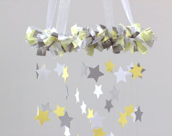 Yellow & Gray Star Nursery Mobile- Neutral Nursery Decor, Baby Shower Gift, baby Mobile