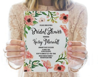 Printed OR Printable Bridal Shower Invitation // Floral Border