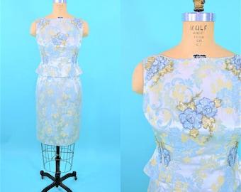 "1950s cocktail dress   blue yellow floral brocade sequin detail top dress set   vintage 50s dress   W 27"""
