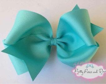 Large Aqua Hair Bow, Aqua Bow, Extra Large Hair Bow, Teal Hair Bow, Large Boutique Hair Bow, Aqua Boutique Hair Bow