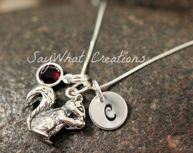 Hand Stamped Mini Initial Sterling Silver Squirrel Charm Necklace