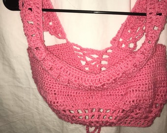 Pink lace up crochet top