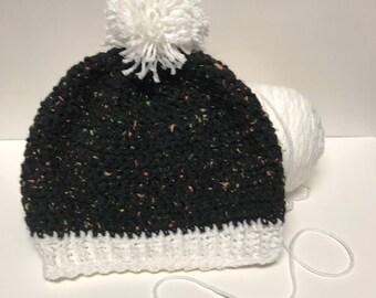Beanie - Ribbed Band - Crochet - Neon Fleck