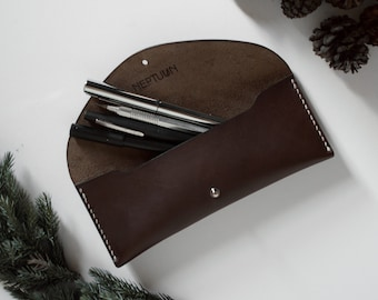 Dark Chocolate vegtanned leather pencilcase, Leather pouch, Pencil case
